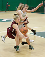 Livingston Manor's Katie Rau, left, is fouled by Eldred's Kayla Kelly while driving to the basket in the Section 9 Class D girls' basketball championship game at Sullivan County Community College in Loch Sheldrake on Wednesday, Feb. 27, 2013.