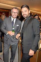 Left to right, BRIAN DUFFY CEO of Watches of Switzerland and DOMINIC COOPER at a party to celebrate the launch of the new Watches of Switzerland Knightsbridge store 47-51 Brompton Road, London on 7th July 2016.