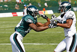 Philadelphia Eagles wide receiver Brandon Gibson #19 goes one on one with cornerback Joselio Hanson during the Philadelphia Eagles NFL training camp in Bethlehem, Pennsylvania at Lehigh University on Saturday August 8th 2009. (Photo by Brian Garfinkel)