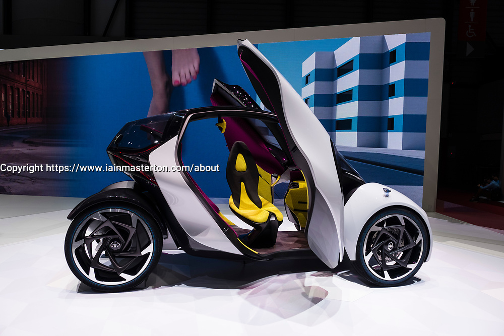 Toyota i-Tril electric city car concept at 87th Geneva International Motor Show in Geneva Switzerland 2017