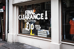 Final Clearance sign in a shop window in Cardiff.