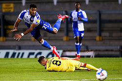 Jonah Ayunga of Bristol Rovers is tackled by Liam Kinsella of Walsall - Mandatory by-line: Robbie Stephenson/JMP - 08/09/2020 - FOOTBALL - Memorial Stadium - Bristol, England - Bristol Rovers v Walsall - Leasing.com Trophy