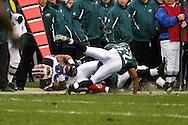 PHILADELPHIA - DECEMBER 30: Cornerback Joselio Hanson #22 of the Philadelphia Eagles brings down Runningback Fred Jackson #22 of the Bills during the game against the Buffalo Bills on December 30, 2007 at Lincoln Financial Field in Philadelphia, Pennsylvania. The Eagles won 17-9.