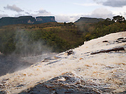On top of Sapo Falls, a waterfall near Canaiama lagoon at Canaima National Park, Venezuela