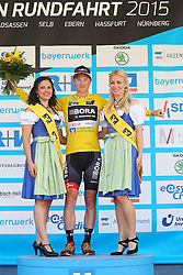 Radsport: 36. Bayern Rundfahrt 2015 / 3. Etappe, Selb - Ebern, 15.05.2015<br /> Cycling: 36th Tour of Bavaria 2015 / Stage 3, <br /> Selb - Ebern, 15.05.2015<br /> Siegerehrung - podium, <br /> # 113 Bennett, Sam (IRL, Team BORA-ARGON 18), , Gelbes Trikot Gesamtfuehrender / Yellow Leader Jersey