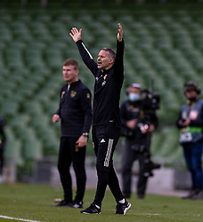 DUBLIN, REPUBLIC OF IRELAND - Sunday, October 11, 2020: Wales' manager Ryan Giggs reacts during the UEFA Nations League Group Stage League B Group 4 match between Republic of Ireland and Wales at the Aviva Stadium. The game ended in a 0-0 draw. (Pic by David Rawcliffe/Propaganda)