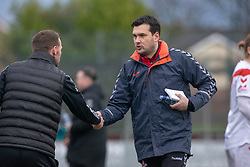 Stenhousemuir's manager Colin McMenamin and Airdrie's manager Ian Murray at the start. Stenhousemuir 1 v 0 Airdrie, Scottish Football League Division One played 26/1/2019 at Ochilview Park.