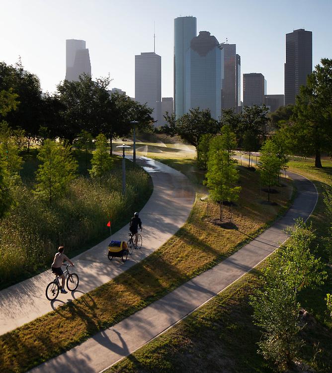 Hike and Bike Trail on Buffalo Bayou with downtown skyline of Houston, Texas.