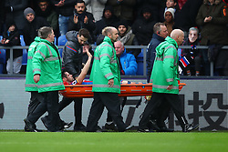 31 December 2017 -  Premier League - Crystal Palace v Manchester City - Scott Dann of Crystal Palace waves to the fans as he goes off injured on a stretcher - Photo: Marc Atkins/Offside