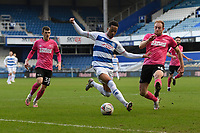 Football - 2020 / 20-21 Sky Bet Championship - Queens Park Rangers vs Derby County - Kiyan Prince Foundation Stadium<br /> <br /> Chris Willock of Queens Park Rangers shields the ball from Matthew Clarke of Derby County.<br /> <br /> COLORSPORT