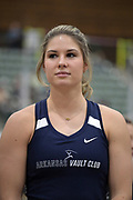 Lexi Jacobus is introduced before the elite women's competition during the National Pole Vault Summit, Friday, Jan. 17, 2020, in Reno, Nev.