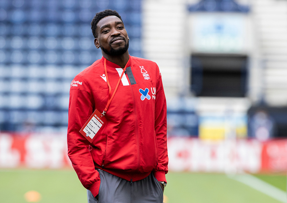 Nottingham Forest's Sammy Ameobi inspecting the pitch before the match <br /> <br /> Photographer Andrew Kearns/CameraSport<br /> <br /> The EFL Sky Bet Championship - Preston North End v Nottingham Forest - Saturday 11th July 2020 - Deepdale Stadium - Preston <br /> <br /> World Copyright © 2020 CameraSport. All rights reserved. 43 Linden Ave. Countesthorpe. Leicester. England. LE8 5PG - Tel: +44 (0) 116 277 4147 - admin@camerasport.com - www.camerasport.com