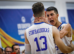 Stavrakoukas  Vasileios of Greece and Nikolaidis  Alexandros of Greece celebrate during basketball match between National teams of Greece and Slovenia in the Group Phase C of FIBA U18 European Championship 2019, on July 29, 2019 in  Nea Ionia Hall, Volos, Greece. Photo by Vid Ponikvar / Sportida