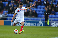 Tim Chow of Wigan Athletic tries a shot from distance during the EFL Cup match between Oldham Athletic and Wigan Athletic at Boundary Park, Oldham, England on 9 August 2016. Photo by Simon Brady.
