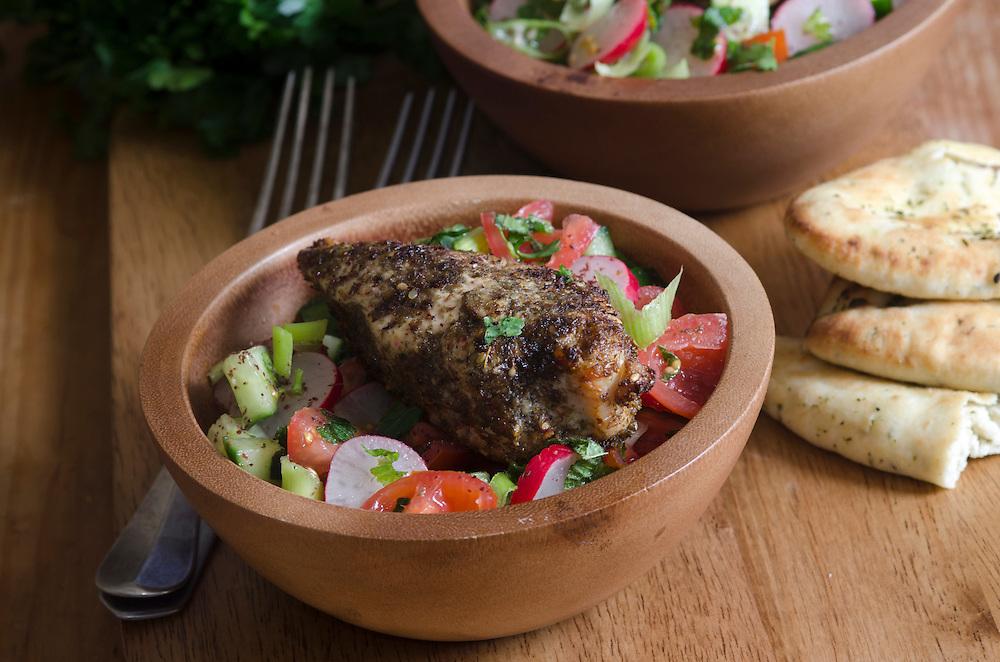 Za'atar spiced chicken breast with fattoush salad