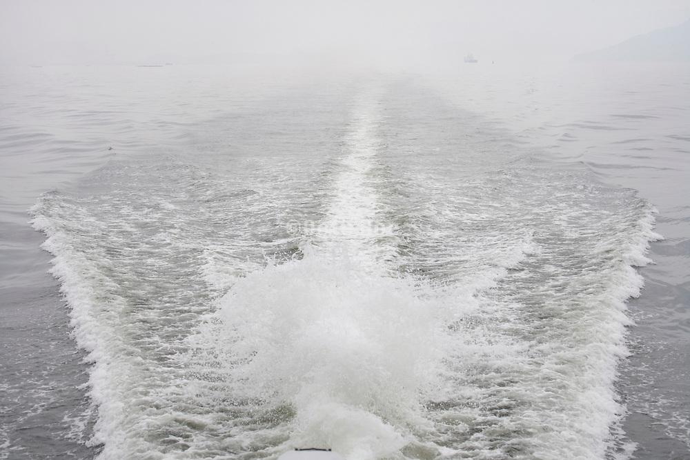 wake behind motorboat