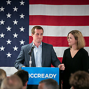 CHARLOTTE, NC - SEPTEMBER 10: Dan McCready and his wife Laura address the crowd of supporters after conceding to his Republican challenger Dan Bishop at an election night party at the Double Tree Hotel in South Charlotte seated in the Mecklenburg County portion of District 9 in Charlotte, NC on Tuesday September 10, 2019. (Photo by Logan Cyrus /The New York Times)
