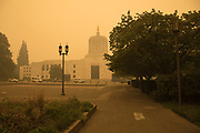 Oregon State Capitol under smoke from 2020 Oregon wildfires.