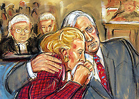 Copyright Priscilla Coleman ITN Artist 30.09.04 (file pic).Picture Shows:Neil and Christine Hamilton in the High Court in London in their 'cash for questions case against Mr. Al-Fayed.