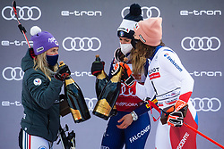 Tessa Worley (FRA), Marta Bassino (ITA) and Michelle Gisin (SUI) during trophy ceremony the Ladies' Giant Slalom at 57th Golden Fox event at Audi FIS Ski World Cup 2020/21, on January 17, 2021 in Podkoren, Kranjska Gora, Slovenia. Photo by Vid Ponikvar / Sportida