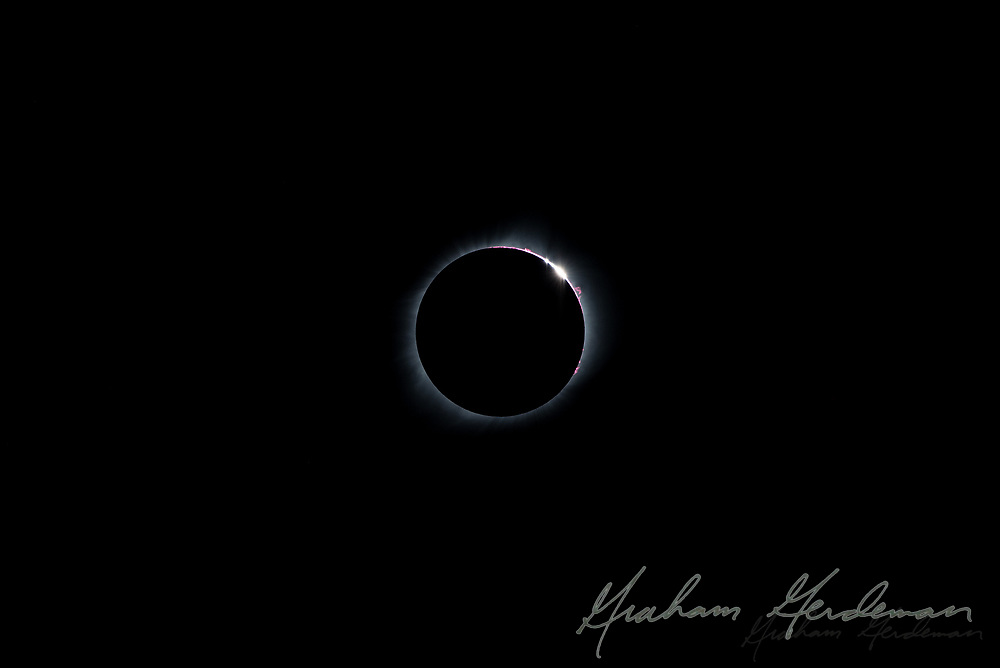 The total solar eclipse of August 21, 2017. Photographed outside Nashville, TN. Solar Flairs and Bailey's Beads effect - caused by the mountains of the moon's surface.