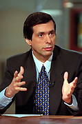 Media critic and Washington Post columnist Howard Kurtz  during the Sunday political talk show, Meet the Press, on NBC-TV February 28, 1999 in Washington, DC.
