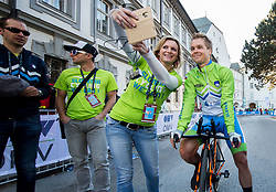 Jan Tratnik with fans at Men Elite Individual Time trial a 52.5km race from Rattenberg to Innsbruck 582m at the 91st UCI Road World Championships 2018 / ITT / RWC / on September 26, 2018 in Innsbruck, Austria. Photo by Vid Ponikvar / Sportida