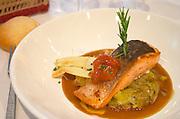 Restaurant L'Olivier du Clavel, on rue C Domercq. Salmond on cabbage. Bordeaux city, Aquitaine, Gironde, France