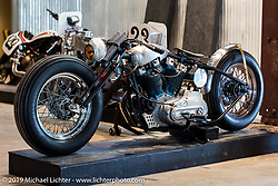 The Iron Panther by Bowman Motorcycles Frankie Bowman (St. Petersburg, FL) custom Harley-Davidson Ironhead Sportster at the Handbuilt Motorcycle Show. Austin, TX. April 9, 2015.  Photography ©2015 Michael Lichter.