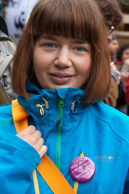 Alexandra Panait, at the release of European bison, Bison bonasus, in the Tarcu mountains nature reserve, Natura 2000 area, Southern Carpathians, Romania. The release was actioned by Rewilding Europe and WWF Romania in May 2014.