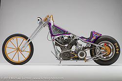 Count Chopula, 1972 HD shovelhead drag bike, built by Matt Harris of 40 Cal Customs in TN. Photographed by Michael Lichter in Columbus, OH on 02/10/18. ©2018 Michael Lichter.