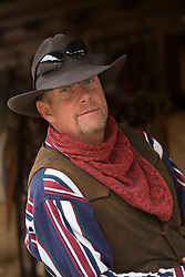 United States, Montana, Livingston, wrangler in barn. MR