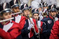 © Licensed to London News Pictures. 01/01/2019. London, UK. Newark Charter High School Marching Band during the London New Year's Day Parade. More than 8,000 performers from 26 countries are taking part in the parade. Photo credit: Rob Pinney/LNP