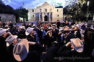 SONS OF THE REPUBLIC OF TEXAS gather at dawn in front of the Alamo to toast who died during the siege commeorating the 176th anniversary of the battle of the Alamo, March 6, 1836.