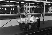 Food Vendor with Cart on Platform at Railway Station, Salzburg, Austria, 1925