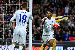 Goal, Raheem Sterling of England scores,England 2-0 Estonia - Mandatory byline: Jason Brown/JMP - 07966 386802 - 09/10/2015- FOOTBALL - Wembley Stadium - London, England - England v Estonia - Euro 2016 Qualifying - Group E
