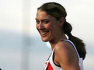 Super 8 athletics at the Cardiff International Stadium on Wed 10th June 2009. Amanda Moss of Cardiff after winning the Women's 800m race.