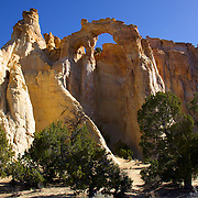 Rare and remote, Grosvenor Arch is one of nature's awe-inspiring natural arches. Wind and water persistently carved away at the landscape to reveal this double arch set high atop majestic cliffs. It is located within Grand Staircase-Escalante National Monument, southeast of Kodachrome Basin State Park in southern Utah.