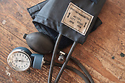 A sphygmomanometer lies on a table at the Slipway clinic in Monrovia, Montserrado county, Liberia on Monday April 2, 2012.