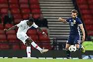 Portugal forward Bruma (7) (RB Leipzig) score Portugal third goal 0-3 during the Friendly international match between Scotland and Portugal at Hampden Park, Glasgow, United Kingdom on 14 October 2018.