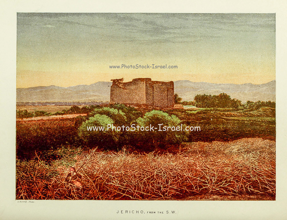 Jericho from the South West from the book Scenes in the East : consisting of twelve coloured photographic views of places mentioned in the Bible, with descriptive letter-press. By Tristram, H. B. (Henry Baker), 1822-1906; Published by the Society for Promoting Christian Knowledge (Great Britain) in London in 1872