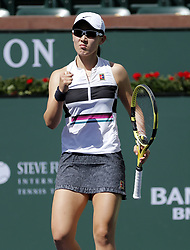 March 7, 2019 - Los Angeles, California, U.S - Saisai Zheng of China, celebrates her lints against Kristina Mladenovic of France, during the women singles first round match of the BNP Paribas Open tennis tournament on Thursday, March 7, 2019 in Indian Wells, California. Mladenovic won 2-0. (Credit Image: © Ringo Chiu/ZUMA Wire)