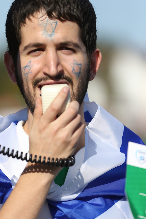 The Zionist Federation held a small, brief protest before the Israel versus Wales UEFA Championships match.
