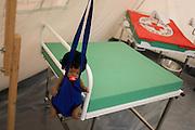 Maternity tent mock-up in emergency supplies warehouse, Deutsches Rotes Kreuz (DRK - German Red Cross) at their logistics centre at Berlin-Schönefeld airport.