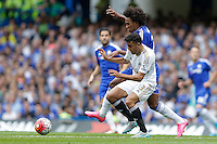 Swansea City's Neil Taylor battles for possession with Chelsea's Willian<br /> <br /> Photographer Craig Mercer/CameraSport<br /> <br /> Football - Barclays Premiership - Chelsea v Swansea City - Saturday 8th August 2015 - Stamford Bridge - London<br /> <br /> © CameraSport - 43 Linden Ave. Countesthorpe. Leicester. England. LE8 5PG - Tel: +44 (0) 116 277 4147 - admin@camerasport.com - www.camerasport.com