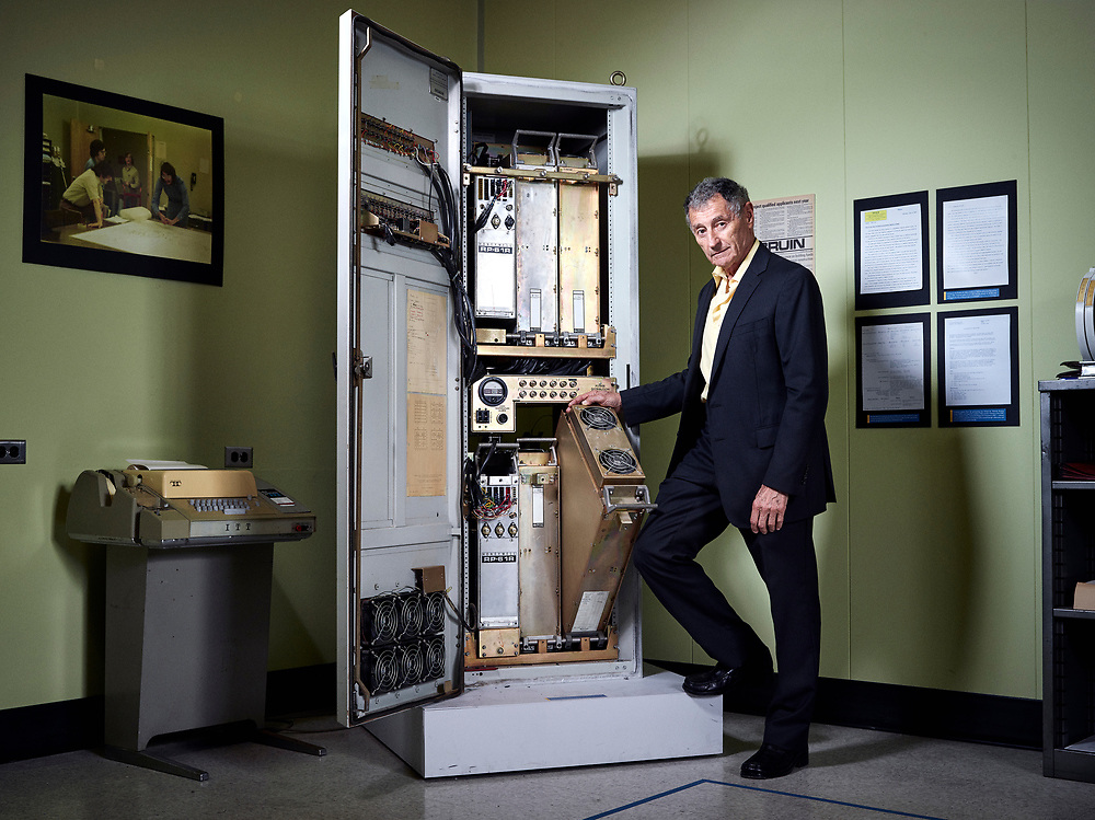 LOS ANGELES, CA - MAY 21, 2015 - Dr. Leonard Kleinrock stands next to an Interface Message Processor, the host computer that sent the first message over the internet in 1969, in his original laboratory on May 21, 2015, on the UCLA campus in Los Angeles, California. Kleinrock is Distinguished Professor of Computer Science at UCLA. He developed the mathematical theory of packet networks, the technology underpinning the Internet, while a graduate student at MIT in the period from 1960-1962.  The birth of the Internet occurred in his UCLA laboratory (3420 Boelter Hall) when his Host computer became the first node of the Internet in September 1969 and it was from there that he directed the transmission of the first message to pass over the Internet on October 29, 1969.(Photo by Bret Hartman/For The Washington Post)