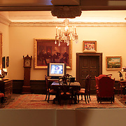 A scale model of the real White House is on display at the Reagan Library in Simi Valley, California. This is The Treaty Room