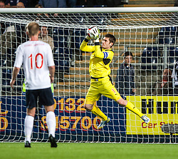 Falkirk's keeper Michael McGovern saves again. Falkirk 0 v 5 Aberdeen, the third round of the Scottish League Cup.<br /> ©Michael Schofield.