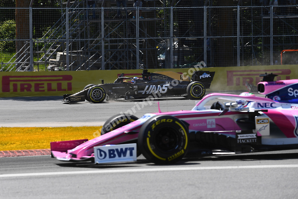 Romain Grosjean (Haas-Ferrari) off the circuit in the first corner after the start of the 2019 Canadian Grand Prix in Montreal. Photo: Grand Prix Photo