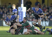 Bath, Somerset, UK., 1st February,  Zurich Premiership Rugby,  Recreation Ground The Rec.,  [Mandatory Credit: Peter Spurrier/Intersport Images],ZURICH PREMIERSHIP RUGBY Bath v Leicester Tigers<br /> Kevin Maggs collects the ball, Martin Johnson tackling from the ground.